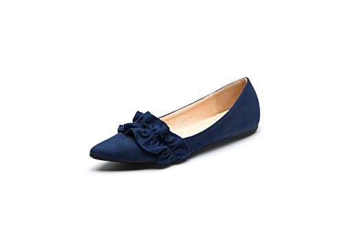 Ashley A L-CELINE02 Crease Pointed Toe Comfort Slip On Ballet Dress Flats Shoes for Women,Navy 5.5 ()