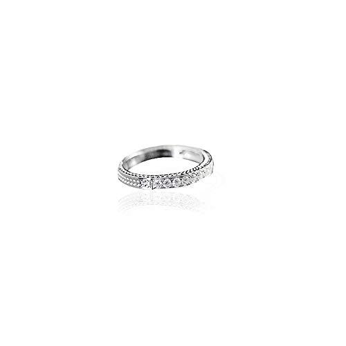 HMOIS - Anillo de Compromiso para Hombre de 0,36 Quilates con Diamante Forjado de Oro Blanco de 18 Quilates, Talla 9