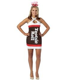 Rasta Imposta Tootsie Roll Teardrop Dress, Brown, Adult 4-10 - Tootsie Roll Costume Child