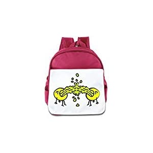 WLF Girl's And Boy's Children Kid's Backpack Pre School Bags Package Fashion Puke Smileys Cartoon Pink