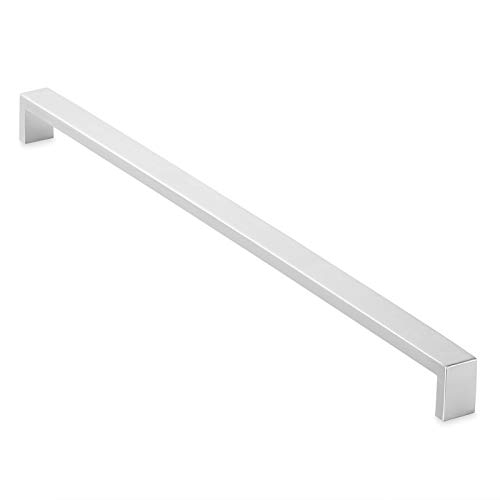 Cauldham Solid Stainless Steel Cabinet Hardware Square Handle Pull Brushed Satin Nickel 16-3/8