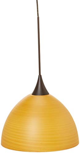 Besa Lighting RXP-4679OK-BR Brella Collection 1-Light LV Quick-Connect Mini-Pendant with Rail Adapter, Bronze Finish with Oak Art Glass Shade
