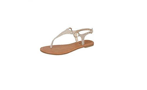 Top Moda Break-10 Womens T-Strap Buckle Flats Sandals
