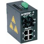 Red Lion Controls/N-Tron 306FX2-ST 6 Port Industrial Ethernet Switch, 4 x 10/100BaseTX, 2 x 100BaseFX Fiber Uplink, DIN-Rail, Multimode, ST Style Connector