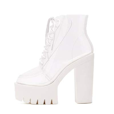 1246f49a489 Image Unavailable. Image not available for. Color  HuWang Thick Heels  Platform Women Autumn Boots Transparent Ankle lace up high Shoes