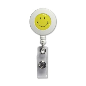 - BAU68808 - Baumgartens Smiley Face ID Card Reel with Belt Clip