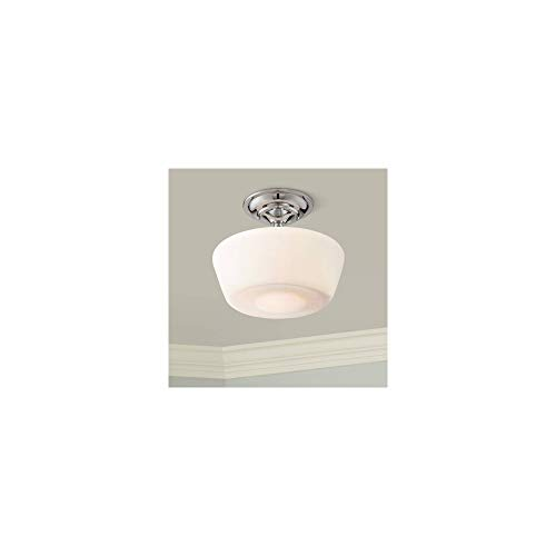 """Schoolhouse Floating 12"""" Wide Chrome Opaque Ceiling Light - Regency Hill"""
