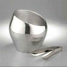 Nambe Tilt Ice/Champagne Bucket with Tongs by Nambe