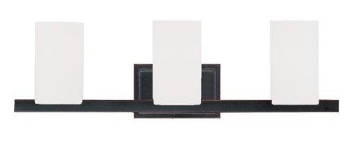 Livex Lighting 1333 – 67 Astoria – 3つライトバスバー、Olde Bronze Finish with Hand Blownサテンホワイトガラス B00DEBA7PU
