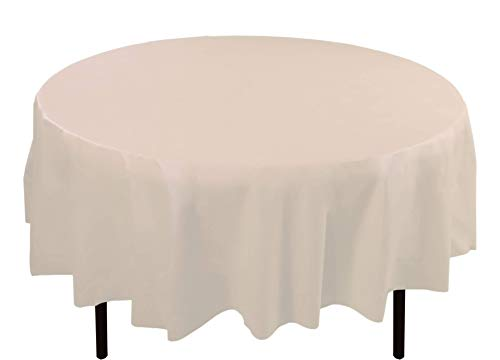 Ivory Table Round Cover (6-Pack Premium Plastic Tablecloth 84in. Round Plastic Table cover - Ivory)