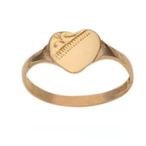 Gold Double Heart Signet Ring
