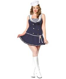 Leg Avenue Women's Shipmate Cutie Plus Size Dress, Navy, 1x/2x