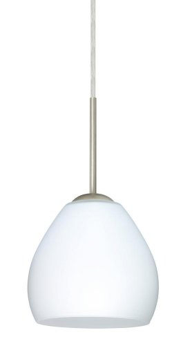 Besa Lighting 1BC-412207-HAL-SN 1X40W G9 Bolla Pendant with Opal Matte Glass, Satin Nickel Finish
