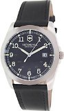 Victorinox Swiss Army Black Dial SS Leather Quartz Men's Watch 241584