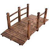 5' Wooden Bridge Solid Fir with Stained Finish Wood Garden Pond Arch Outdoor Walkway Path Structure Backyard Plank Garden Decorative Yard Landscape New by Bravo! (Image #1)