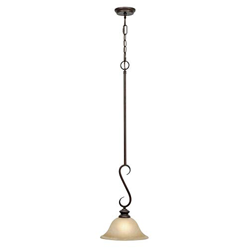 - Golden Lighting 6005-M1L RBZ Lancaster Mini Pendant, Rubbed Bronze Finish