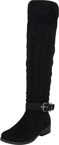 Cambridge Select Women's Wraparound Strap Buckle Chunky Low Heel Over The Knee Riding Boot,8 M US,Black IMSU (Buckle Wrap Around)