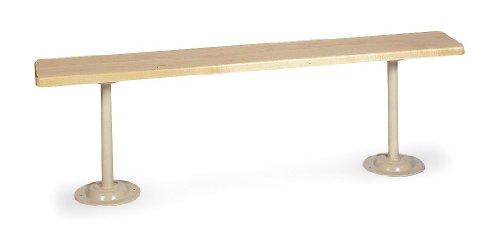 (Lyon DD5795 Hardwood Top Locker Room Bench with 2 Painted Steel Pedestals, 60