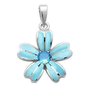 Natural Larimar & Blue Topaz Flower 925 Sterling Silver Pendant - Jewelry Accessories Key Chain Bracelet Necklace Pendants