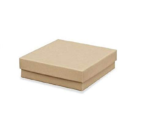 12 Pack Cotton Filled Brown Kraft Paper Cardboard Jewelry Gift and Retail Boxes 3 X 3 X 1 Inch Size by R J Displays