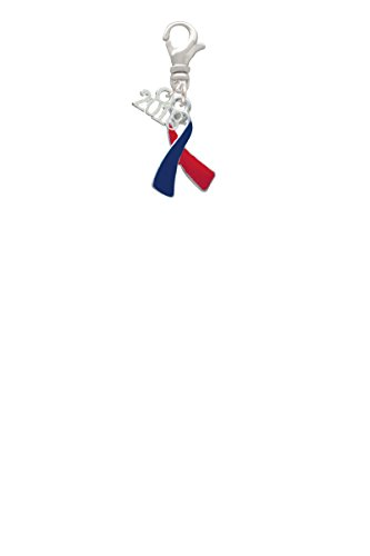 Red & Blue Awareness Ribbon Mini 2018 Clip On Charm