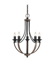 Sea Gull Lighting 3280405-846 Five Light Chandelier, Stardust / Cerused Oak