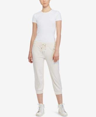 Ralph Lauren Womens Cropped Casual Jogger Pants, Off-White, Small