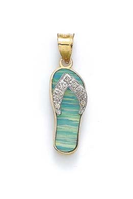 14k Two-Tone Gold Light Blue Simulated Opal Flip-Flop and Diamond -