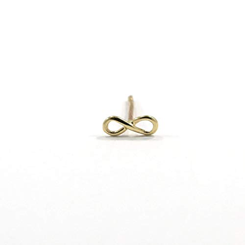 14K Gold Infinity Stud Earrings - 14K Solid Yellow Gold Dainty Studs, Mini Simple Forever Eternity Symbol, Happy Birthday Gift for Nephew and Granddaughter, Perfect Gift for Girls and Young Women
