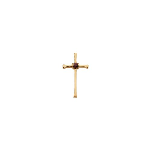 Cross Pendant with Genuine Ruby in 14k Yellow Gold (Cross Ruby Genuine)