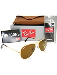(Authentic Ray-Ban Aviator 3025 RB3025 001/33 55mm Gold Frame / Brown Lens Small)