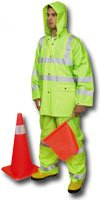 Price comparison product image Mutual 14511 3 Piece PVC/High Visibility Polyester ANSI Class 3 Rain Suit, 2X-Large, Lime