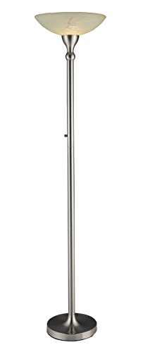 Artiva USA 71-inch Compact Fluorescent Torchiere Floor Lamp with Hand-painted Alabaster Glass Shade (Torchiere Alabaster)