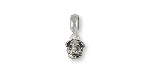 Guinea Pig Jewelry Sterling Silver Guinea Pig Charm Slide Handmade Piggie Jewelry GP4H-PNS