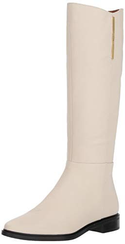 (Calvin Klein Women's Francine Knee High Boot, White Pebbled Burnishied Soft Nappa, 9 M US)