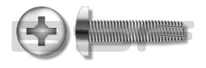 8-32X3/4 Phillips Pan Thread Cutting Screw Type F Fully Threaded 410 Stainless Steel