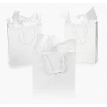 Fun Express Medium White Gift Bags - Pack of 12