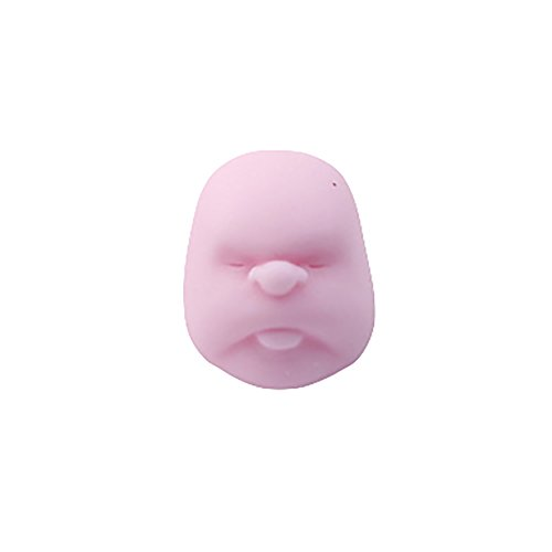 GSPet Adults Kids Human Face Ball Squishy Squeeze Emotion Vent Toys Stress Reliever - Pink L Random Expression