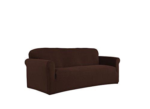 Serta 1 Piece Stretch Grid Box Sofa Slipcover, (10 Piece Chocolate)