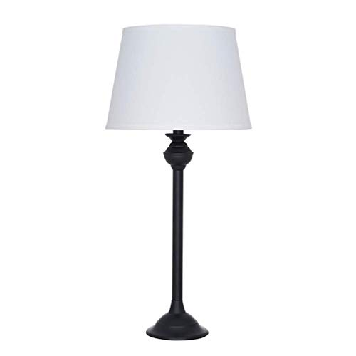 Ravenna Home Traditional Metal Table Desk Lamp With LED Light Bulb - 27.50 Inches, Matte Black With White Shade (White And Table Black Lamps)