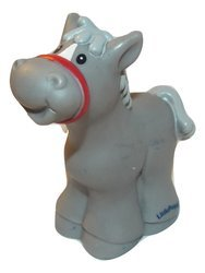 Fisher Price Little People Gray Spotted Horse Pony, Gray Mane, Red Bridle, OOP 2005 Loose/Repackaged (Inspired Bridle)