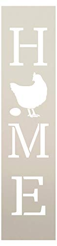 Home with Chicken - Hen & Egg - Vertical Stencil by StudioR12 | Reusable Mylar Template | Use to Paint Wood Signs - Pallets - Banners - DIY Country Decor - Select Size (7
