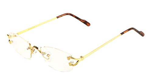 Savant Slim Rimless Geometric/Oval Luxury Sunglasses (Gold Metallic Frame w/Brown Tortoise Ear Pieces & Case, Clear)