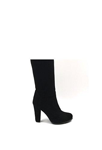 CHIC NANA . Chaussure femme cuissarde à talon en effet daim, réversible, dotée d'un bout rond. Noir
