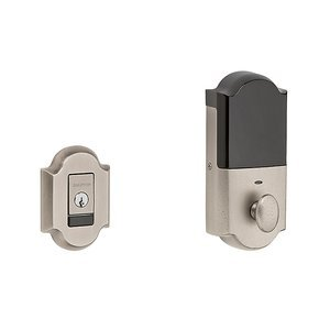 Baldwin 8252.B Evolved Arched Single Cylinder Deadbolt with Bluetooth Technology, Lifetime Satin Nickel