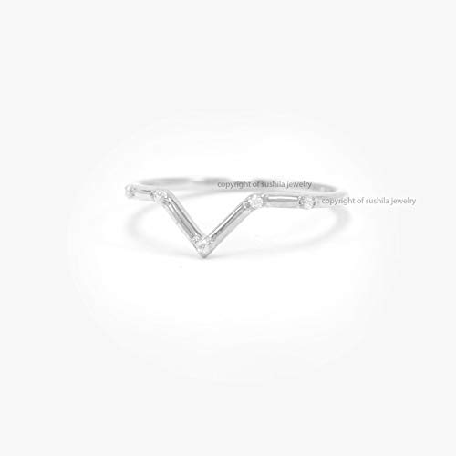 14k Solid Yellow Gold Minimalist Diamond Chevron Band Ring V Shape Jewelry Gift