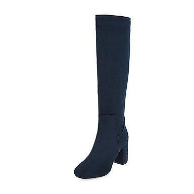 RTRY Zapatos De Mujer Polipiel Invierno Moda Botas De Montar Botas Botas Chunky Talón Rodilla Botas Altas De Punta Redonda Cremallera Para Vestimenta Casual Rojo Oscuro US7.5 / EU38 / UK5.5 / CN38