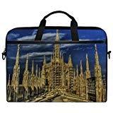 Rh Studio Laptop Bag Gothic Cathedral Milan Architecture Sky Laptop Shoulder Messenger Bag Case Sleeve for 14 Inch to 15.6 Inch with Adjustable Notebook Shoulder Strap