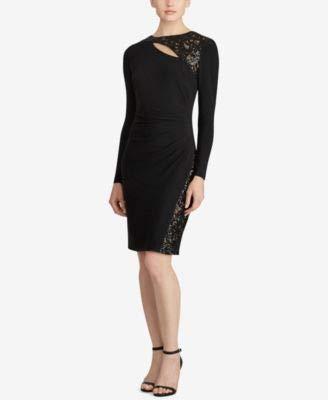 Lauren by Ralph Lauren Women's Sequined-Trim Jersey Dress (0, Black)