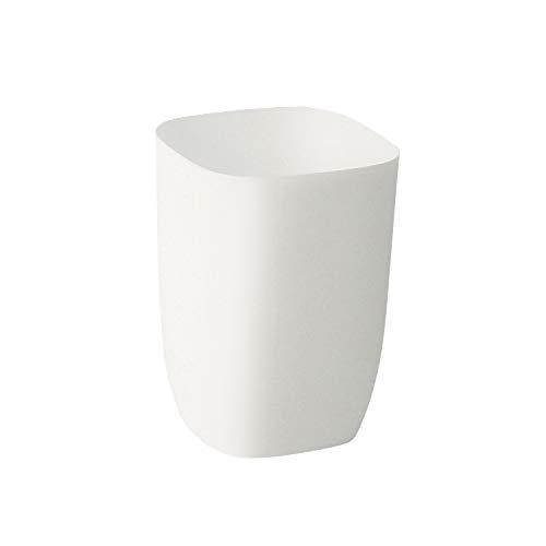 Square Wastebasket - JanConcept Bathroom Trash Can, Small White Garbage Can for Bathroom, Bedroom, Kitchen, Slim Cute Plastic Waste Basket for Office, Matt White, 7L